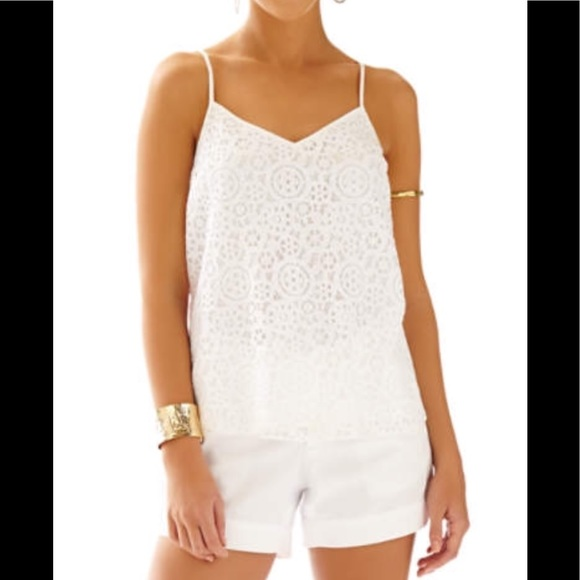 5f951b7a66d50 Lilly Pulitzer Tops - Lilly Pulitzer white lace dusk camisole top☀️